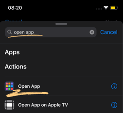 add action: open app
