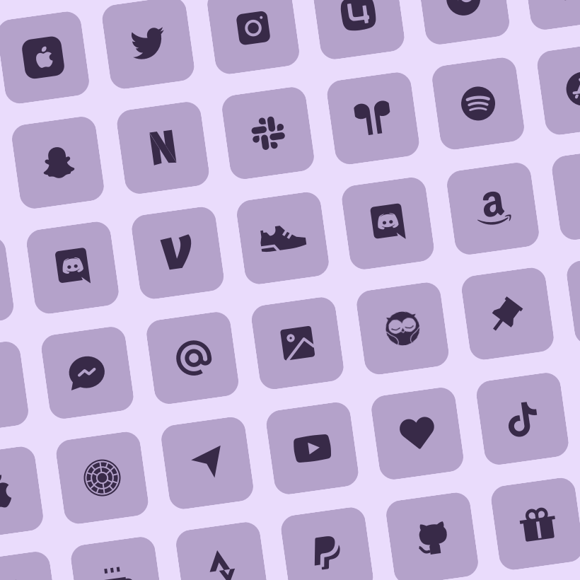 ios lilac pastel icon set