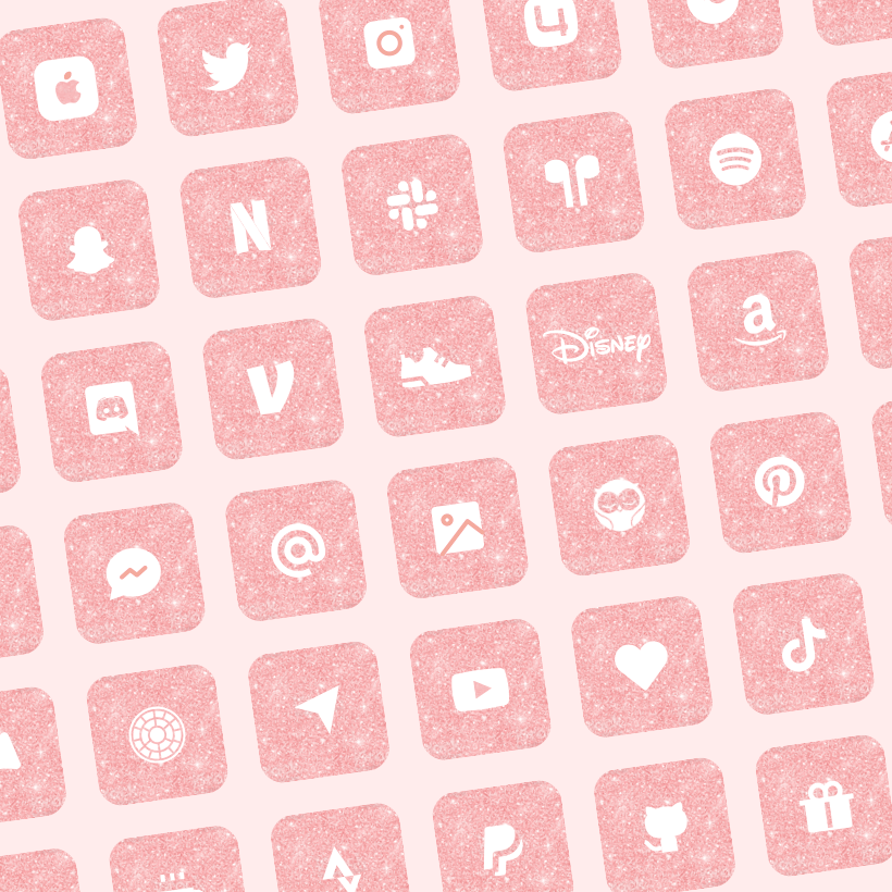 pink glitter app icons